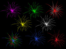Illustration mix of fireworks Stock Photos