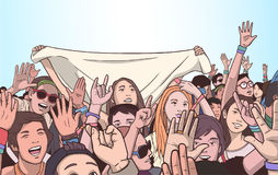 Illustration of mixed ethnic crowd cheering with raised hands at music festival. Stylized drawing of people singing and dancing at live event Stock Images