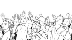 Illustration of mixed ethnic crowd cheering with raised hands at music festival. Stylized drawing of people singing and dancing at live event Royalty Free Stock Images