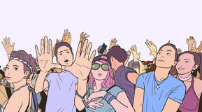 Illustration of mixed ethnic crowd cheering with raised hands at music festival. Stylized drawing of people singing and dancing at live event Royalty Free Stock Photos