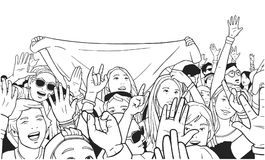 Illustration of mixed ethnic crowd cheering with raised hands at music festival. Stylized drawing of people singing and dancing at live event Stock Photos