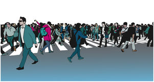 Illustration of mixed ethnic crowd crossing zebra Royalty Free Stock Photography