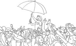 Illustration of mixed ethnic festival crowd partying in the rain Royalty Free Stock Photos