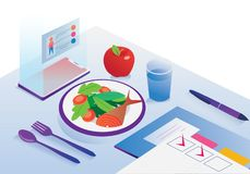 Illustration of mobile app diet healthy manager food fruit royalty free illustration