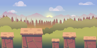 Illustration of mobile app game landscape level background Royalty Free Stock Photos