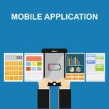 Illustration mobile d'application Conceptions plates Photo libre de droits