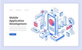 Illustration mobile d'Isometry de développement d'applications illustration de vecteur