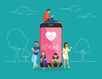 Illustration mobile de concept des soins de santé APP illustration libre de droits