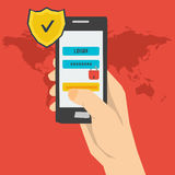 Illustration of mobile payment using password Royalty Free Stock Photos