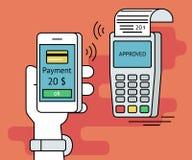 Illustration of mobile payment via smartphone royalty free illustration