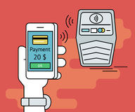 Illustration of mobile payment via smartphone nfc Royalty Free Stock Photos