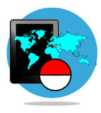 Illustration of mobile phone with blue map and ball Stock Photos