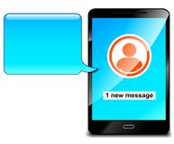 Mobile phone with message speech. Illustration of mobile phone with message speech Stock Image