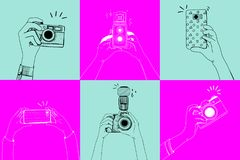 Illustration of an mobile phone taking shots Stock Photos