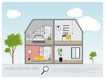 Illustration of a modern luxury house, house interior project design , real estate concept for sales Stock Image