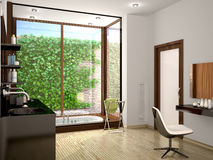 Illustration of modern bathroom with a large panoramic window Stock Images