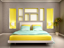 Illustration of modern bedroom interior with yellow bed and n Stock Images