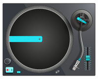 Illustration of modern black and blue turntable Royalty Free Stock Photography