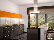 Illustration of modern black and orange kitchen Stock Image