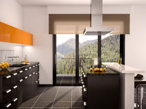Illustration of modern black and orange kitchen interior with a large window Royalty Free Stock Photo