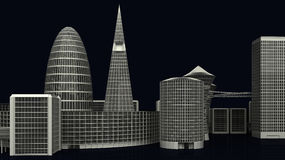 Illustration of Modern City Buildings on dark Royalty Free Stock Image