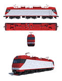Illustration: Modern electric locomotive. 3d render illustration isolated on white: Projections and perspective view of the modern electric locomotive Stock Images