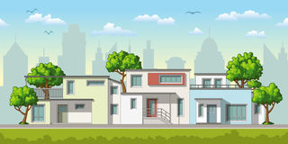Illustration of modern family houses Royalty Free Stock Images