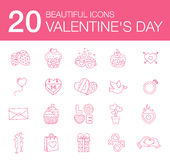 Illustration modern flat icons for Valentines Day. Vector set of valentines day illustrations and icons Royalty Free Stock Photo