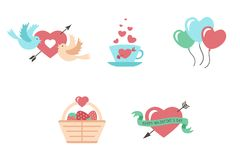 Illustration modern flat icons for Valentines Day. Vector set of valentines day illustrations and icons Royalty Free Stock Photography