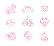 Illustration modern flat icons for Valentines Day. Vector set of valentines day illustrations and icons Stock Images