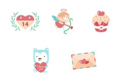Illustration modern flat icons for Valentines Day. Vector set of valentines day illustrations and icons Stock Photo
