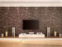Illustration of modern home theater in a cozy interior Royalty Free Stock Images