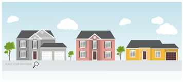 Illustration of a modern houses, house project, real estate concept for sales Royalty Free Stock Photo