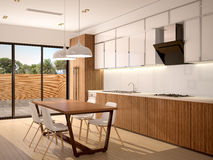 Illustration of Modern kitchen interior and dining room in a Royalty Free Stock Images