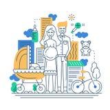 Illustration of modern line flat design city Stock Photos