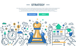 Illustration of modern line flat design strategy Royalty Free Stock Image