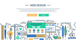 Illustration of modern line flat design Stock Images