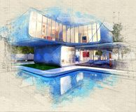 Gallery house with pool royalty free illustration