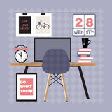 Illustration of modern office workspace. Royalty Free Stock Photography