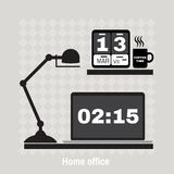Illustration of modern office workspace. Flat minimalistic style Royalty Free Stock Photos