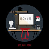 Illustration of modern office workspace. Freelance night. Royalty Free Stock Photo