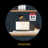 Illustration of modern office workspace. Freelance night. Royalty Free Stock Photography