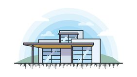 Illustration of Modern private house in line style royalty free stock photography