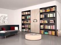 Illustration of Modern reading room. Stock Photo