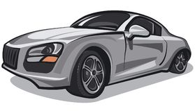 Silver sport car. Illustration of modern silver sport car Royalty Free Stock Photo