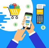 Illustration of modern smartphone with processing of mobile payments from credit card on the screen. Online shopping concept Royalty Free Stock Photography