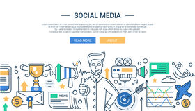 Illustration of modern social media promotion line Royalty Free Stock Photos