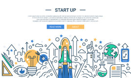 Illustration of modern start up line flat design Stock Photos