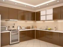 Illustration of modern style kitchen interior. 3d illustration of modern style kitchen interior Royalty Free Stock Image
