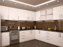 Illustration of modern style kitchen interior. 3d illustration of modern style kitchen interior Stock Image